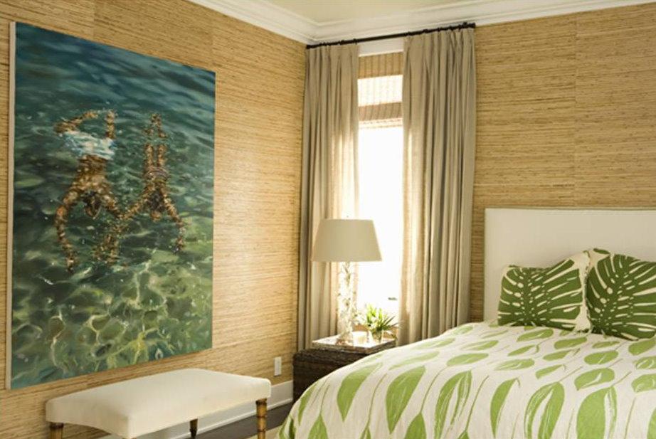 Бамбуковые обои в спальной комнате