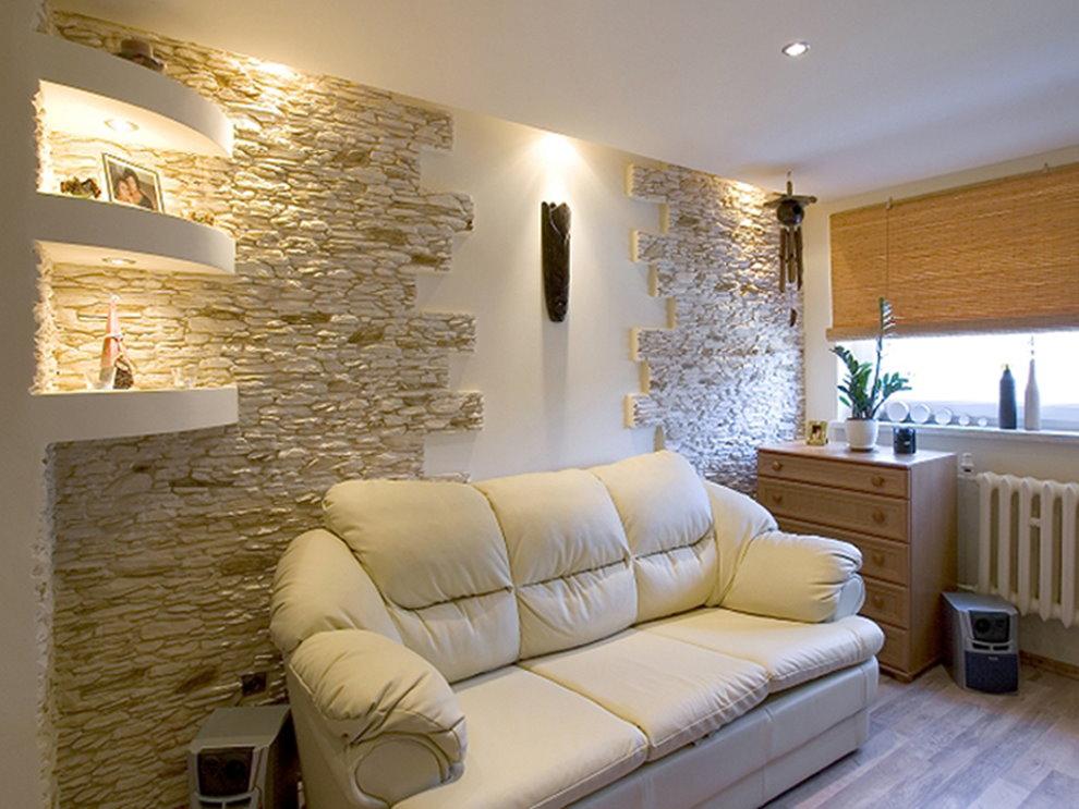 Ниши с подсветкой на стене гостиной 4 на 4 м