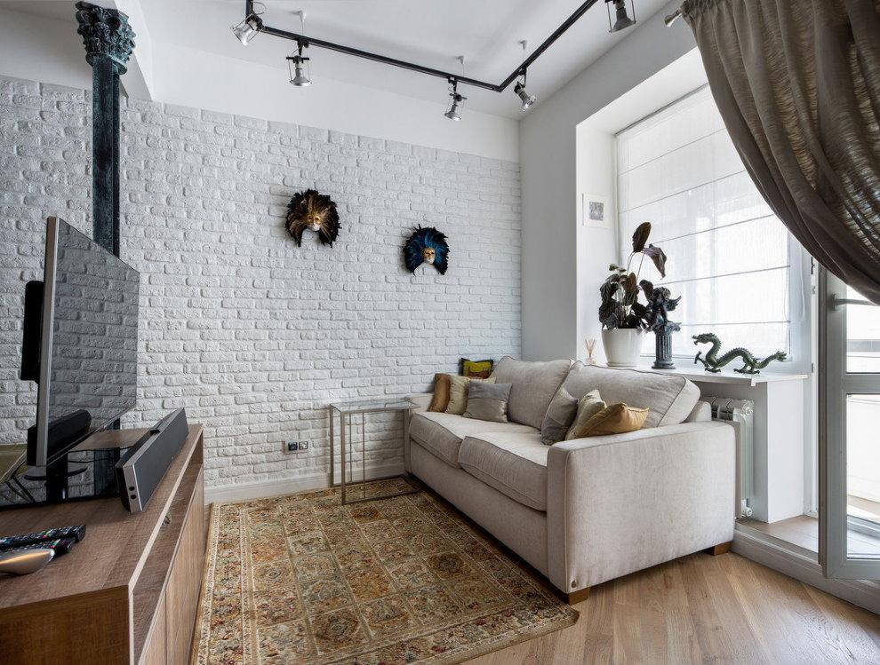 Интерьер белого зала в стиле лофта
