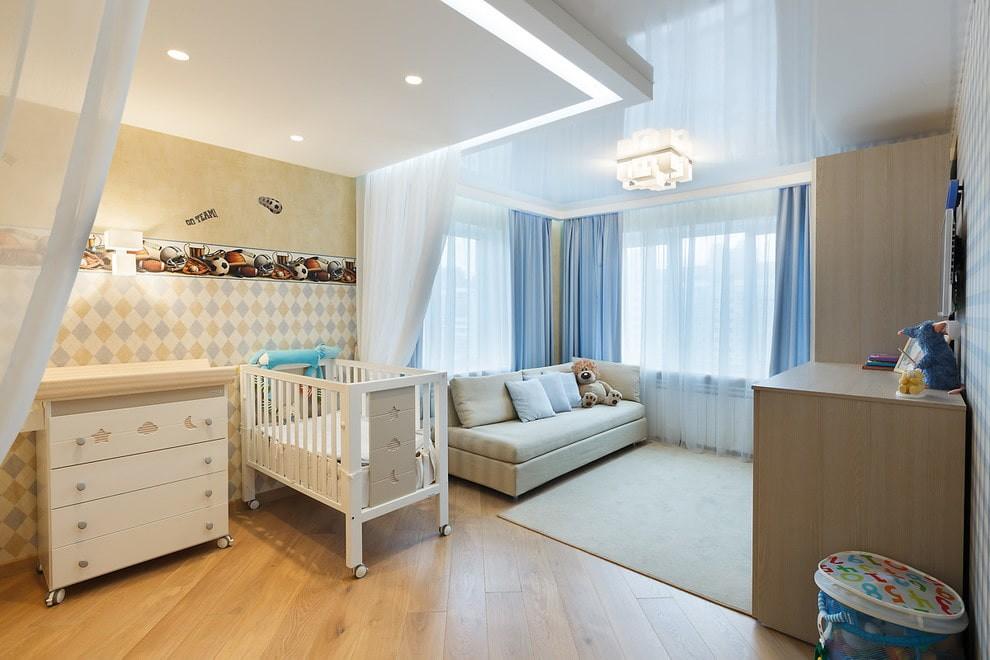 Освещение в детской с двухуровневым потолком