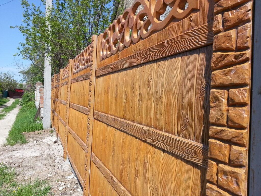 Железобетонный забор под натуральное дерево