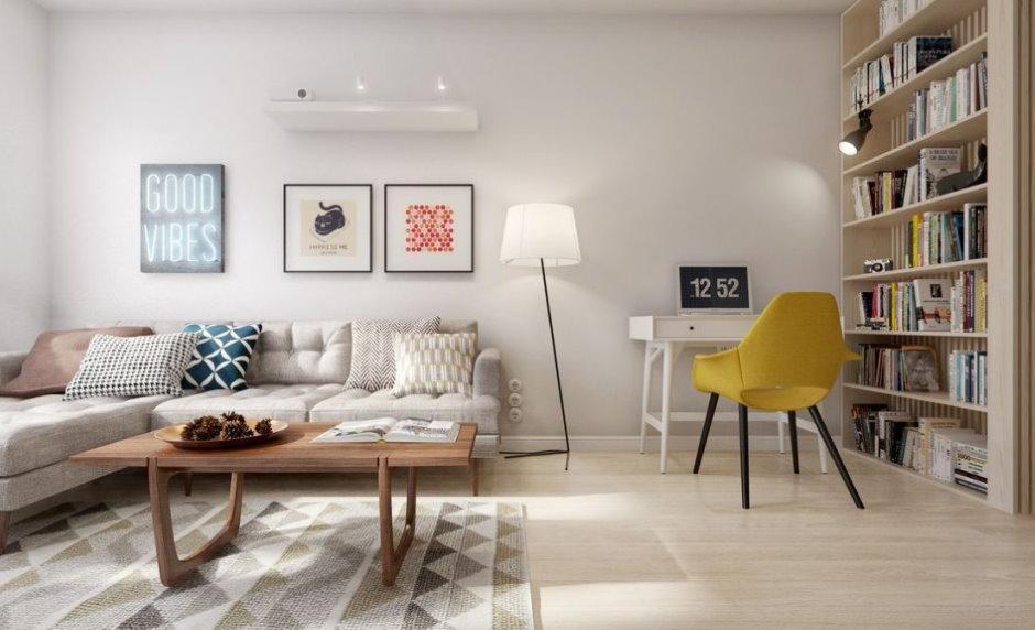 Светлая гостиная комната с угловым диваном