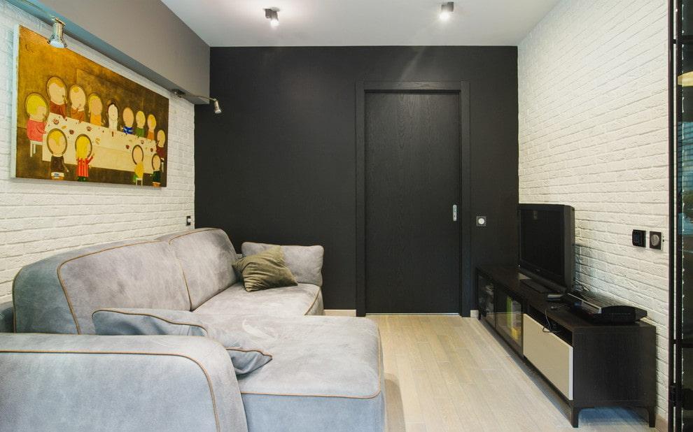 Черный цвет в интерьере небольшого зала