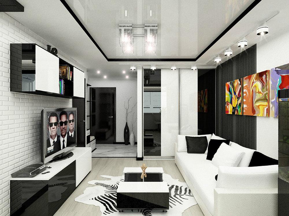 Яркие картины в черно-белой комнате 17 кв м
