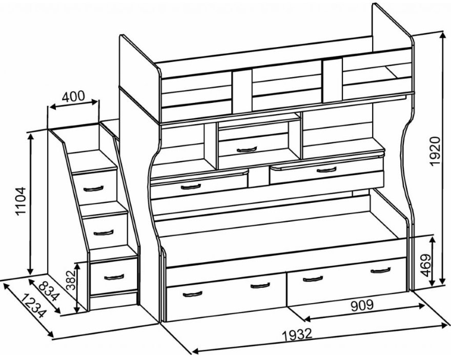 Размеры двухъярусной кровати в детскую спальню