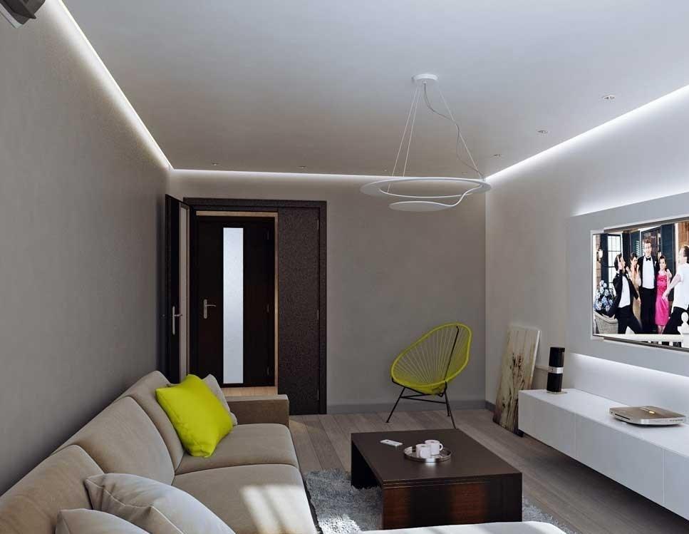 Ровный потолок с подсветкой периметра