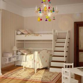 Двухъярусная кровать в комнате девочек