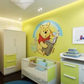Натяжной потолок в комнате новорожденного