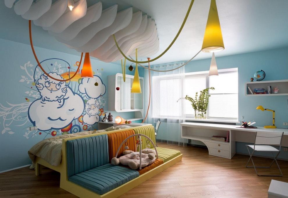 Конусообразные светильники в детской комнате