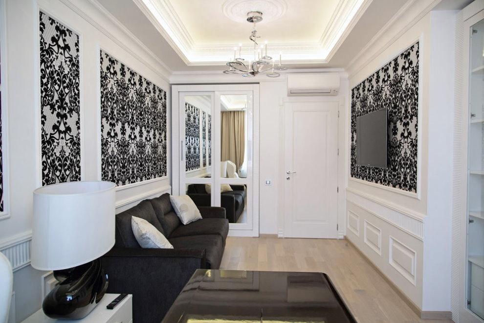 Декорирование белых стен темными обоями