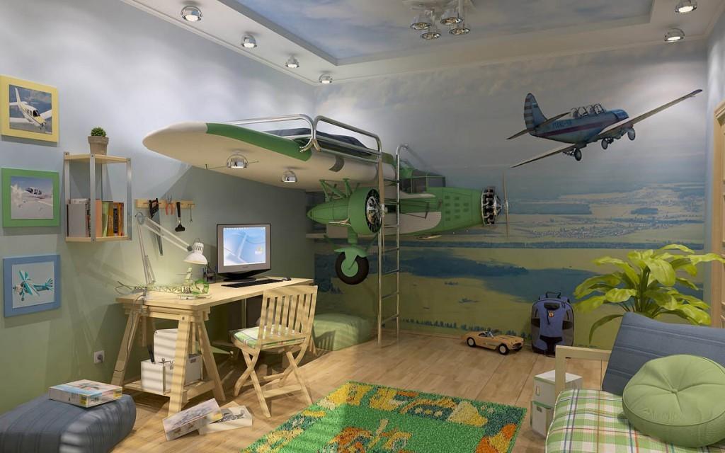 Детская кровать в комнате авиационного стиля