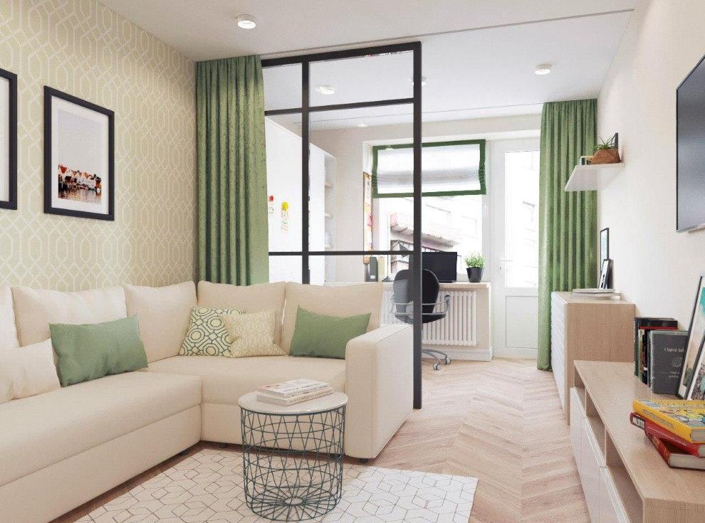 Зеленые занавески в общей комнате квартиры