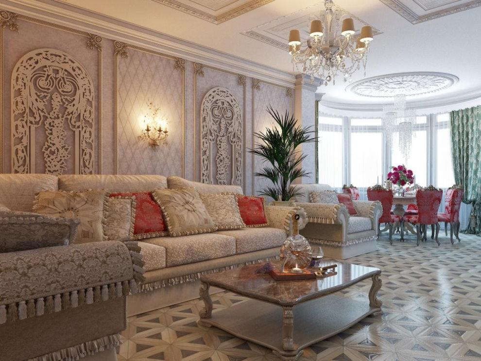 Зона отдыха в зале классического стиля