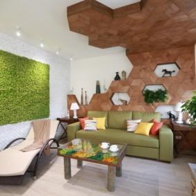 Деревянная плитка в гостиной эко-стиля