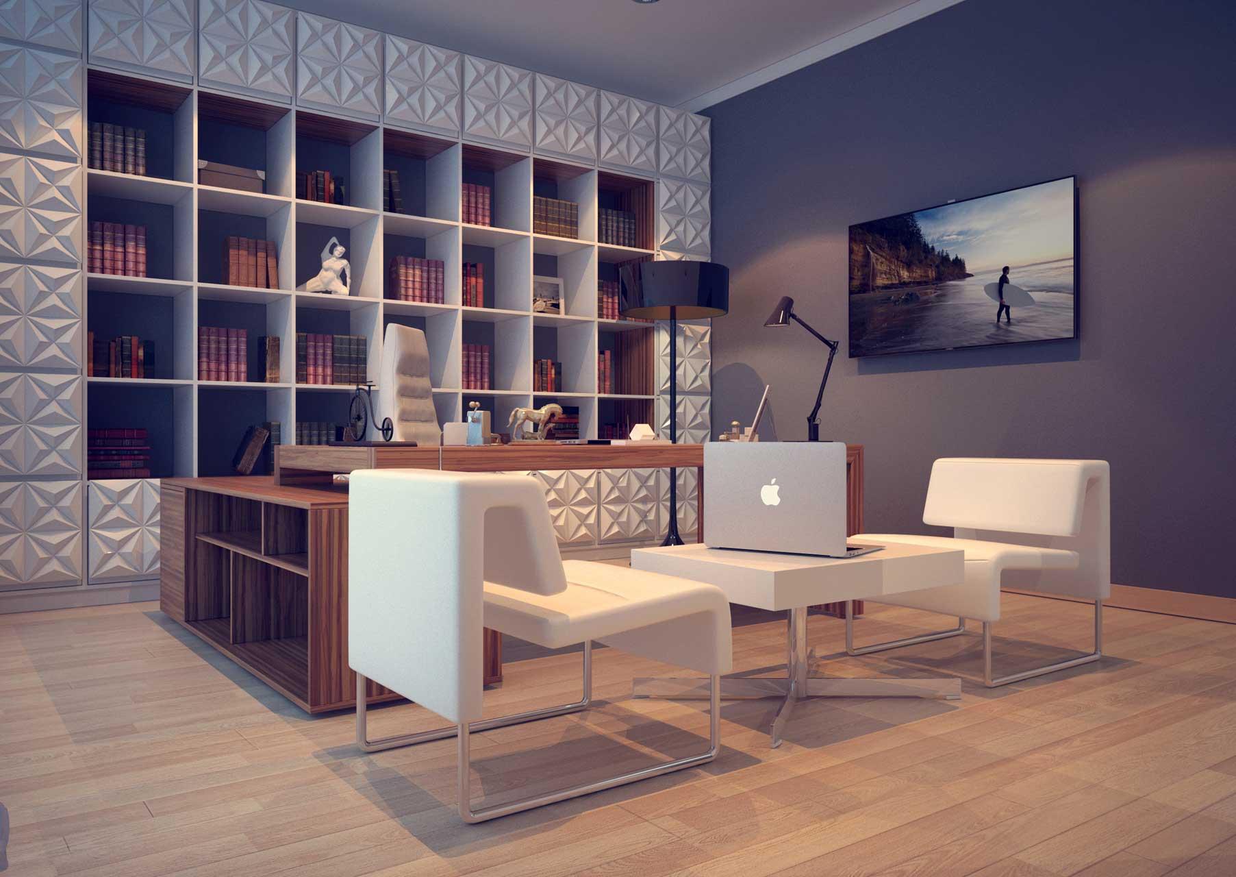 дизайн кабинета стеллаж