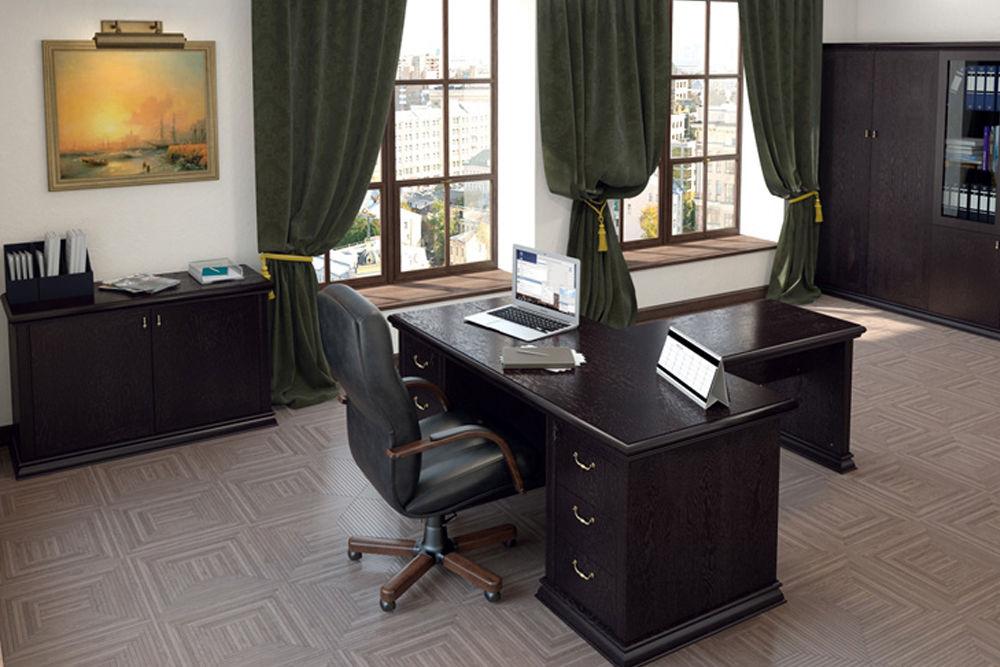 дизайн кабинета темные шторы