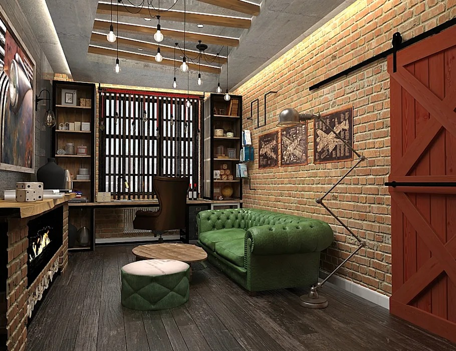 дизайн кабинета в стиле лофт