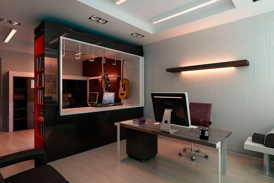 дизайн кабинета в стиле хай тек