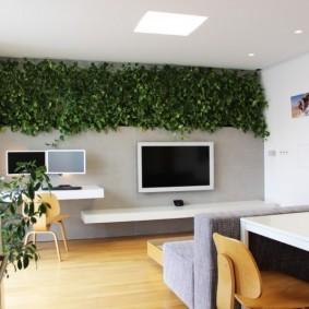дизайн маленького зала в эко стиле