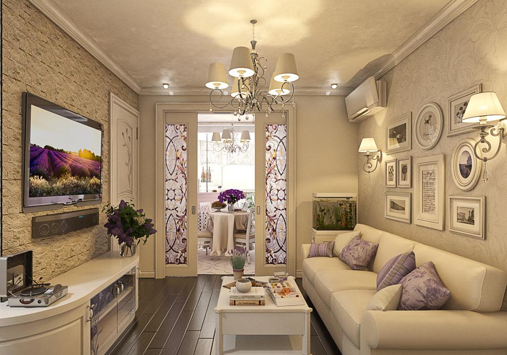 дизайн маленького зала прованс