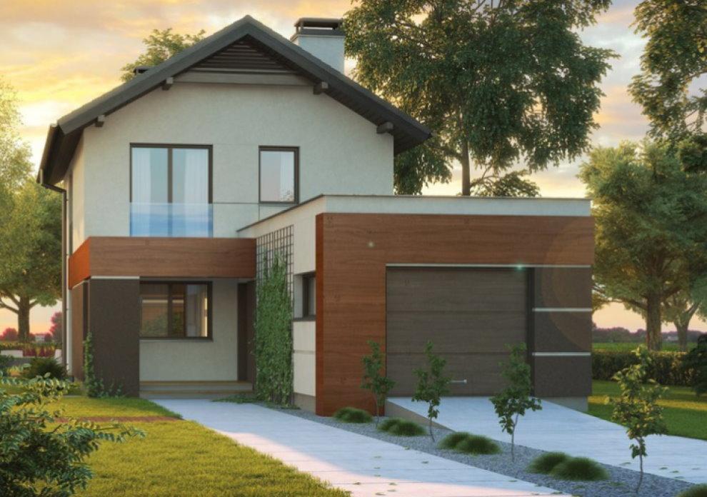 Дом с пристроенным гаражом в современном стиле