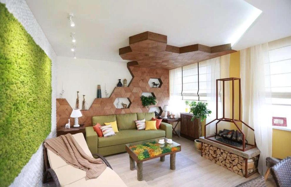 Экологический стиль в дизайне маленького зала