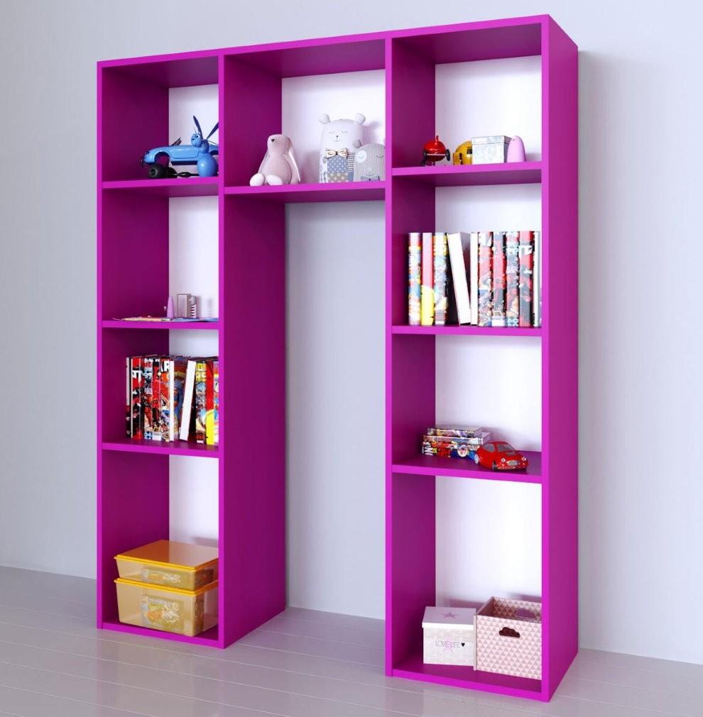 Стеллаж фиолетового цвета в детскую комнату