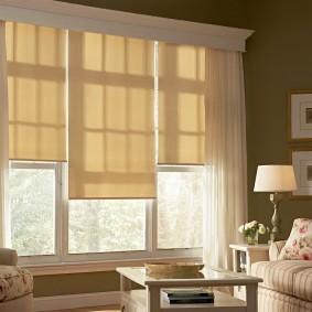 Рулонные шторы бежевого цвета в гостиной комнате