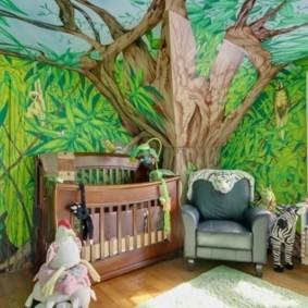 Фотообои в детской комнате частного дома