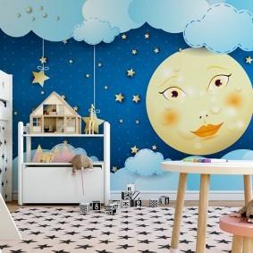 Луна на фотообоях в детской спальне