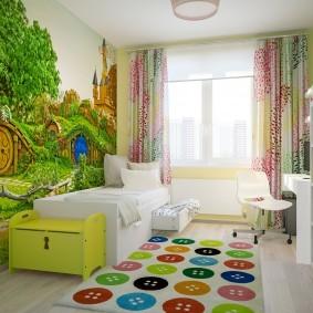 Разноцветные пуговицы на коврике в детской
