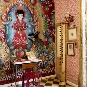 Обои на стене комнаты в стиле эклектики