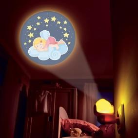 Детский ночник проекционного типа в спальне девочки