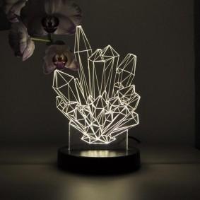 Дизайнерский ночник в виде кристаллов