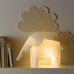 Ночник слоник из тонкого пластика