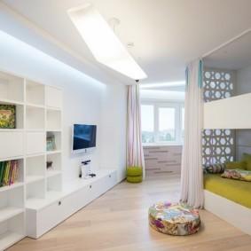 Стеллаж в комнате подростков в стиле хай-тек