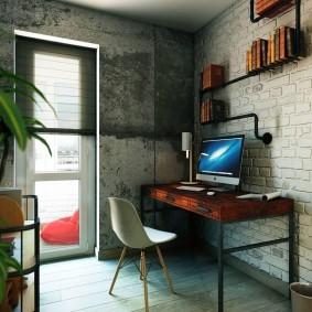 Кирпич и бетон в интерьере кабинета