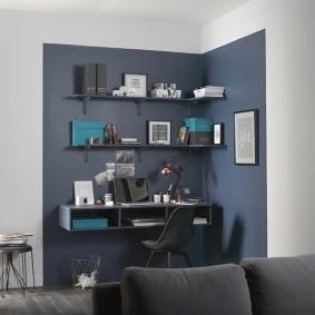 Выделение цветом рабочего места в гостиной