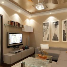 Точечные светильники в гостиной комнате