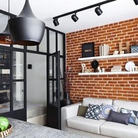 Маленькая гостиная в стиле лофта