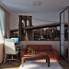 Дизайн маленькой гостиной с рабочим местом