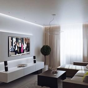 Декоративная подсветка телевизора в зале