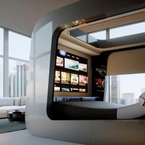Спальное ложе в стиле хай тек
