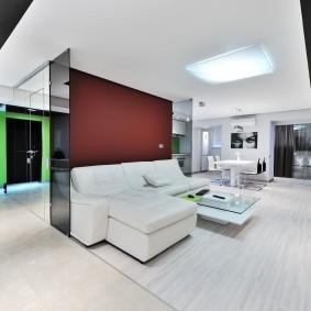 интерьер квартиры-студии в стиле хай тек