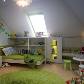 Планировка детской в мансардном помещении