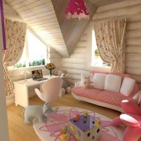 Дизайн детской для девочки в частном доме