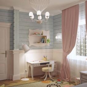 Розовые шторы в детской комнате