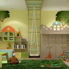 Игровая зона в просторной детской
