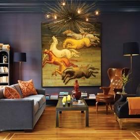 Живопись на тему фэнтези в интерьере зала