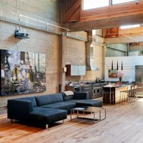 Интерьер зала в индустриальном стиле